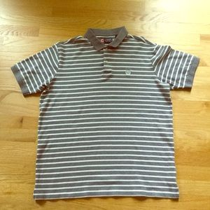 Tall Chaps grey and white Striped Polo